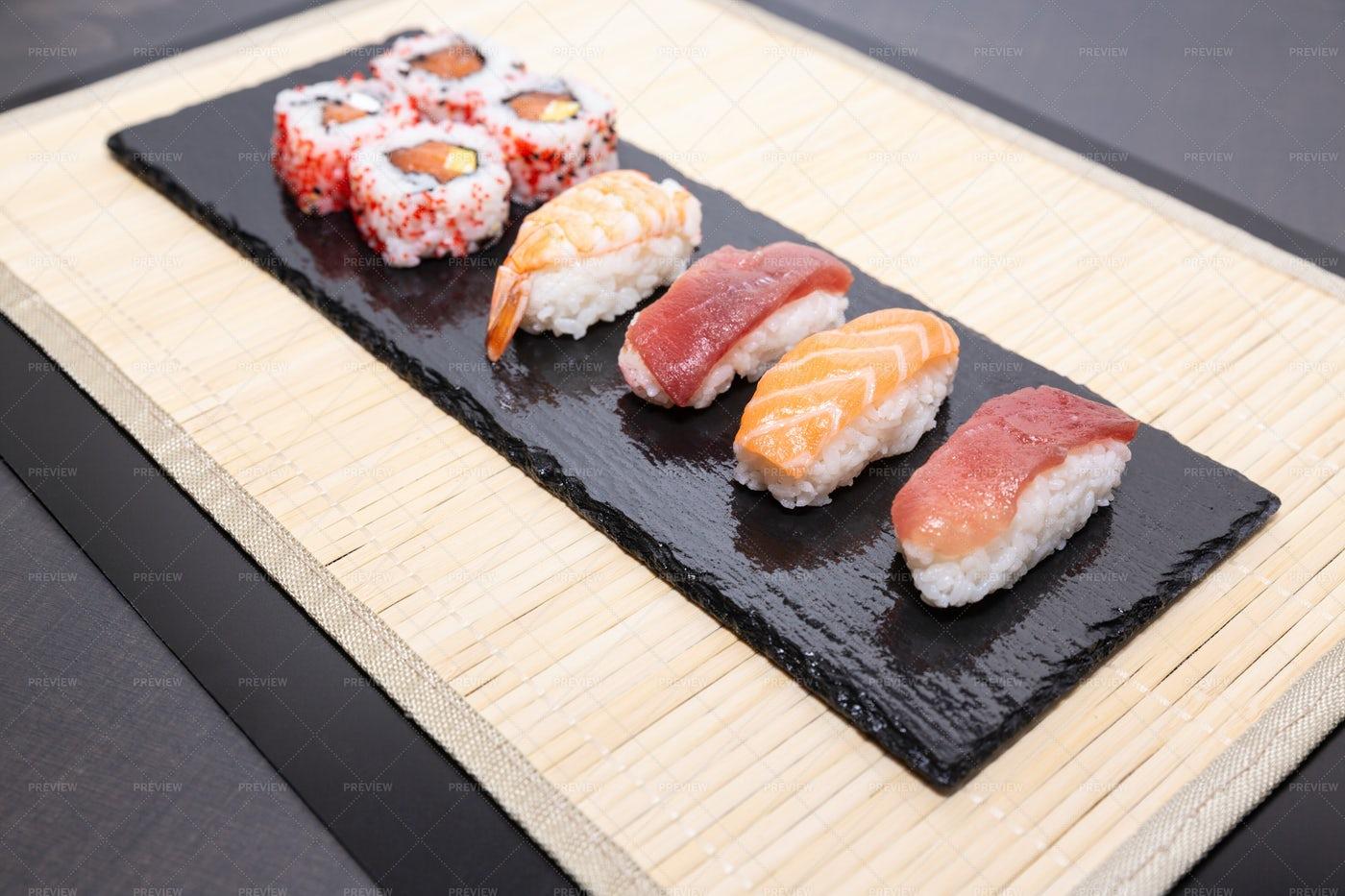 Sushi On A Slate: Stock Photos