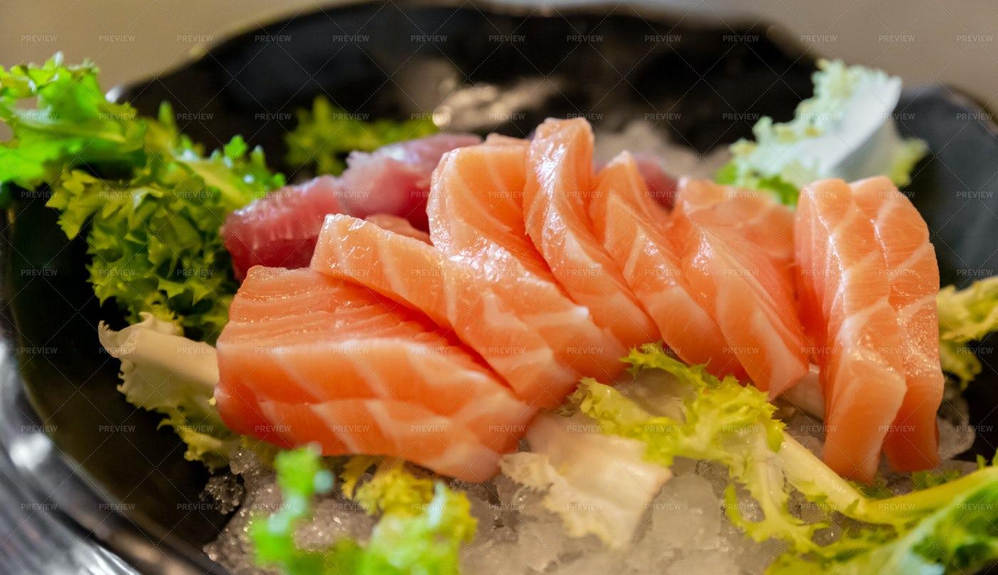 Salmon And Tuna Sashimi: Stock Photos