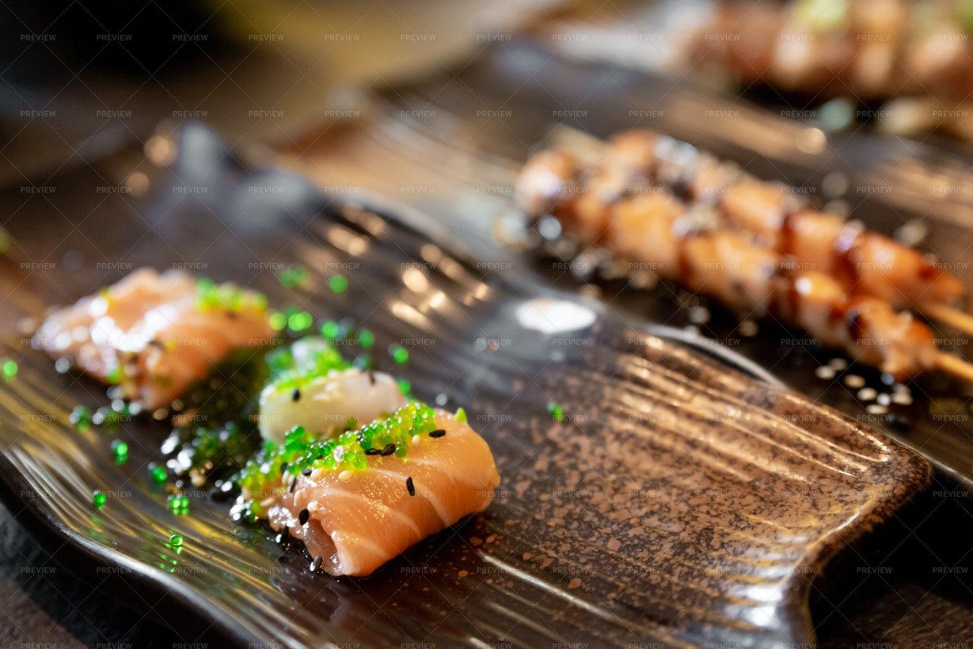 Salmon And Sea Bream Sushi: Stock Photos