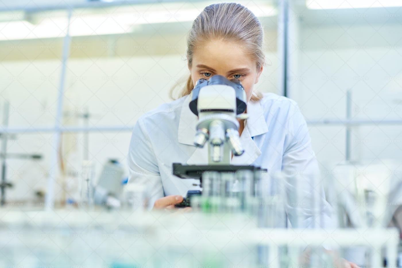 Female Scientist Using Microscope...: Stock Photos