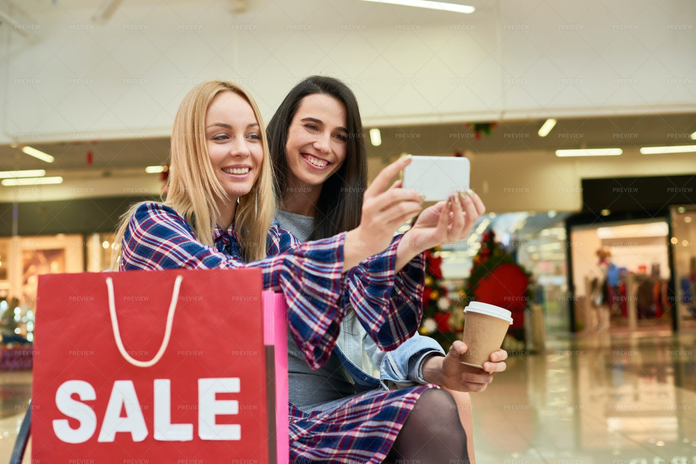 Excited Friends Taking Selfie In...: Stock Photos