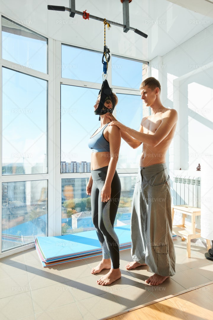 Cervical Traction Device In Yoga...: Stock Photos