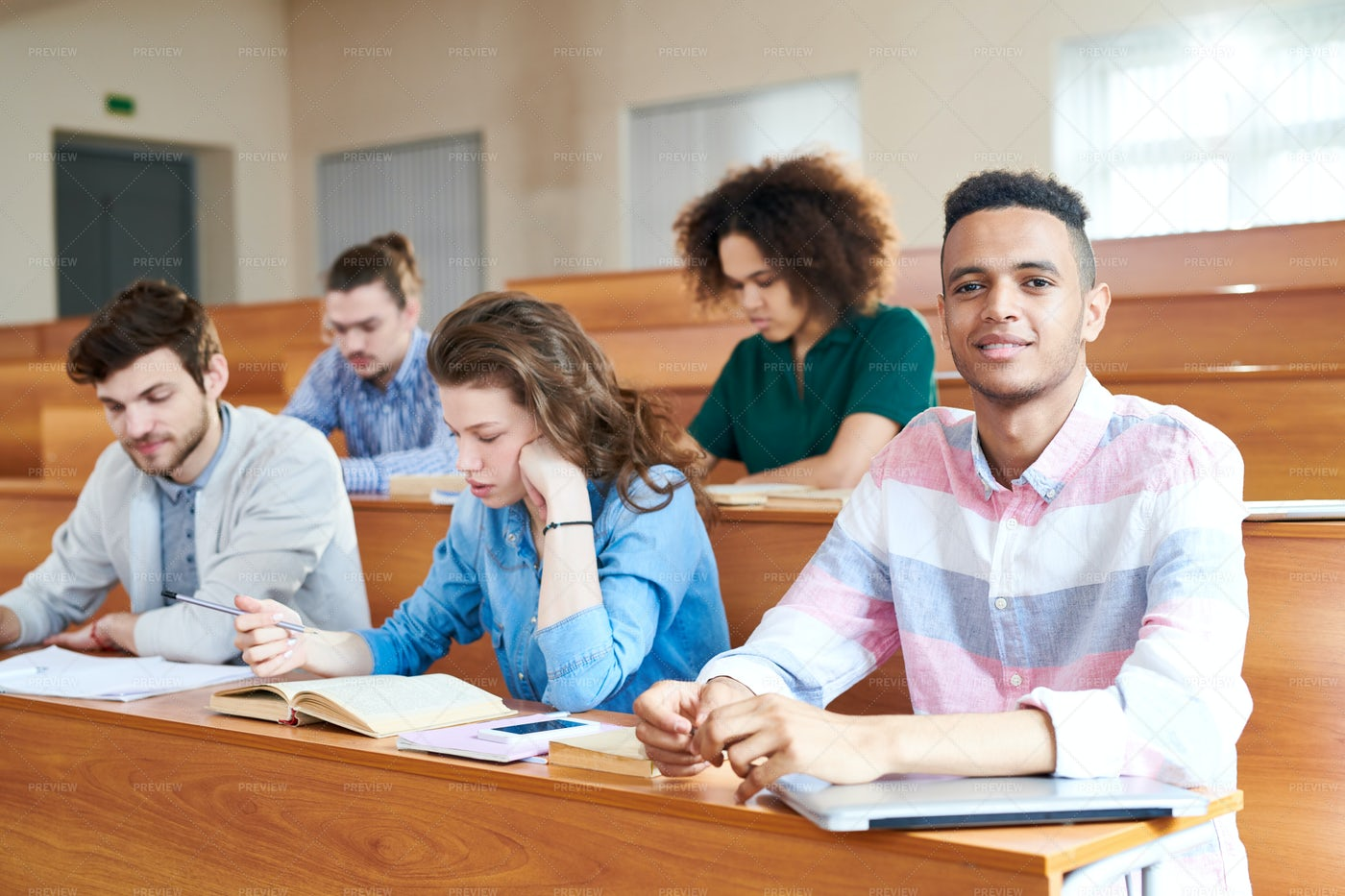 Students At Desk: Stock Photos