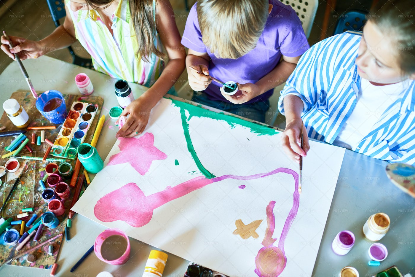 Group Of Children Painting Picture...: Stock Photos