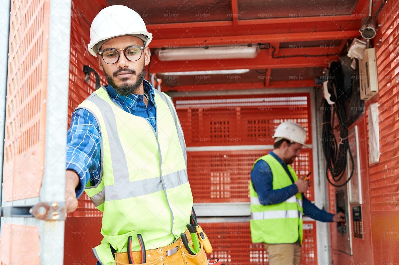 Middle-Eastern Construction Worker...: Stock Photos