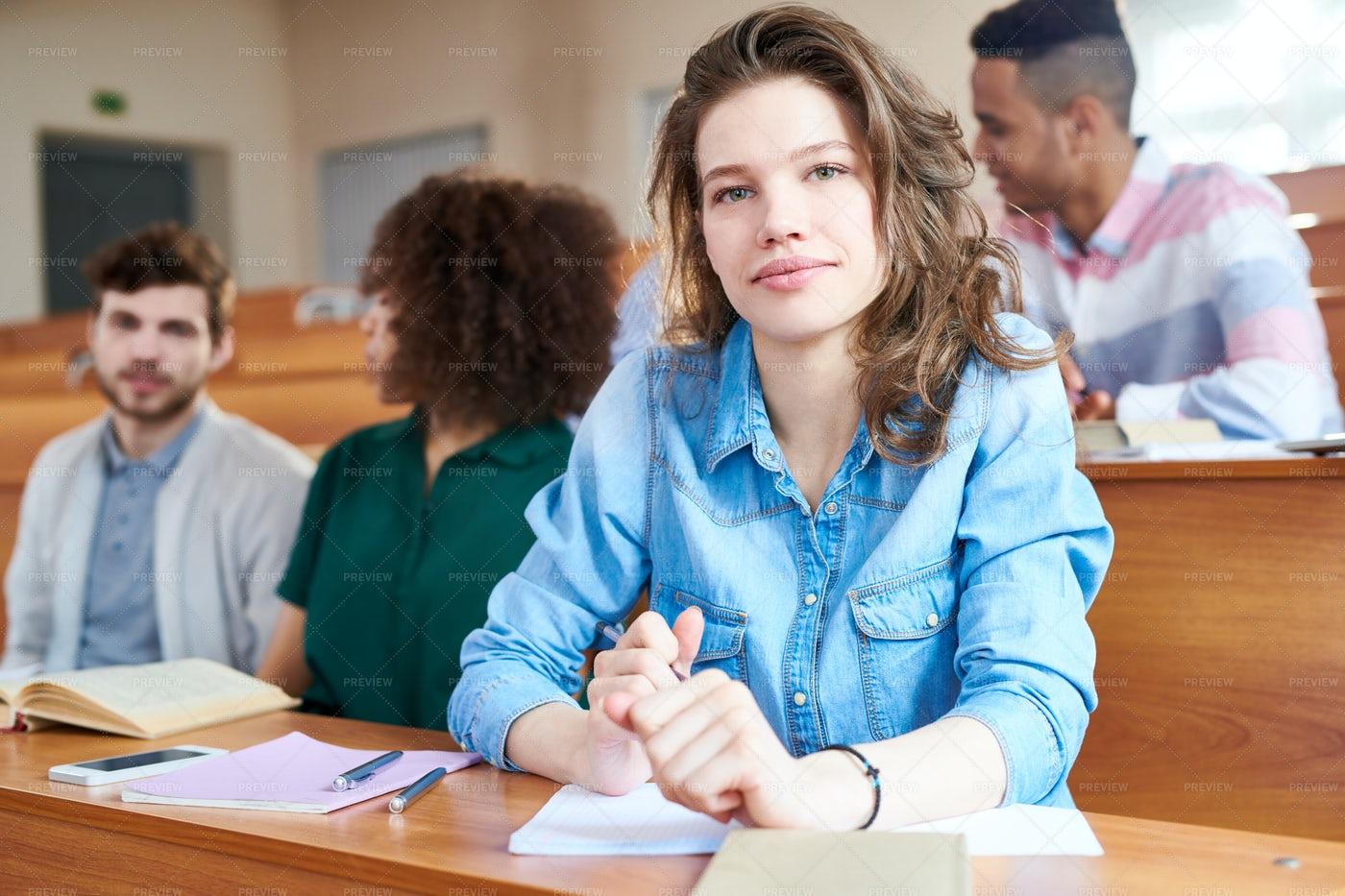 Pretty Student Girl At University...: Stock Photos