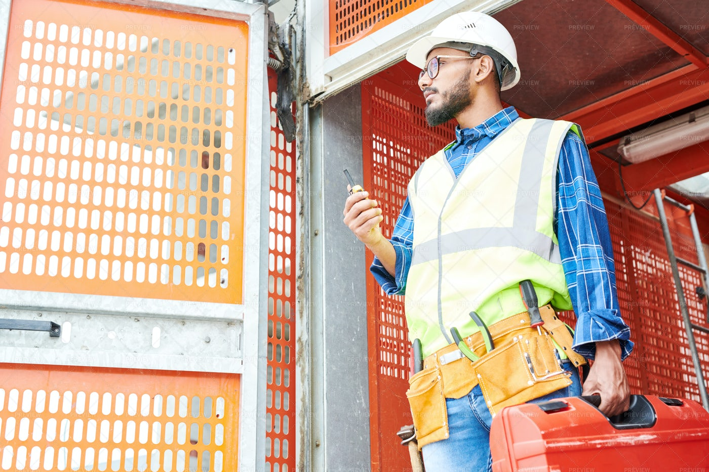 Middle-Eastern Workman On Site: Stock Photos