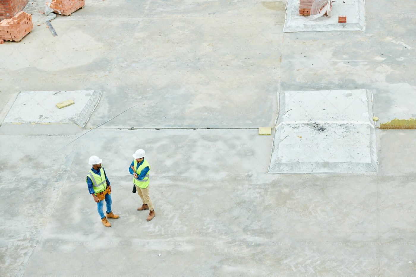 Construction Workers  On Site Above...: Stock Photos