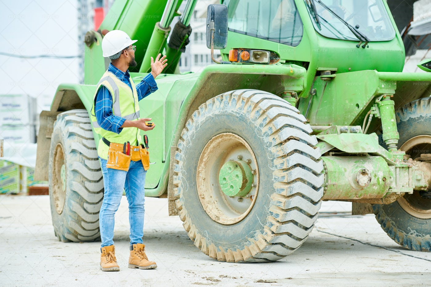 Workman By Industrial Excavator: Stock Photos