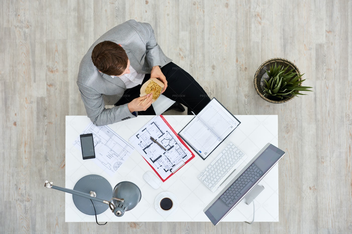 Lunchtime At Modern Office: Stock Photos