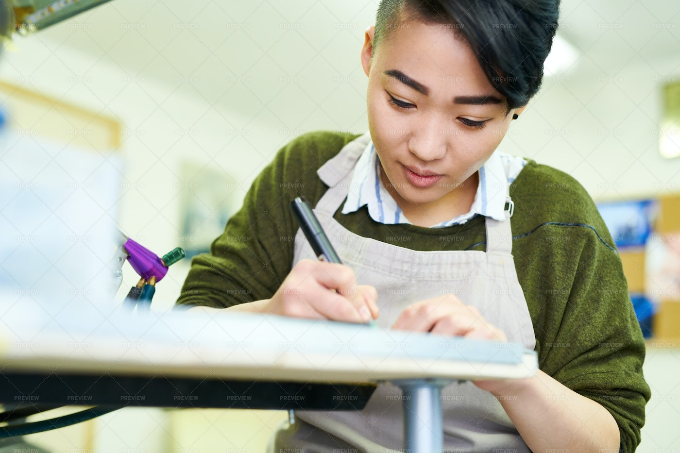 Young Asian Woman Drawing Sketches: Stock Photos