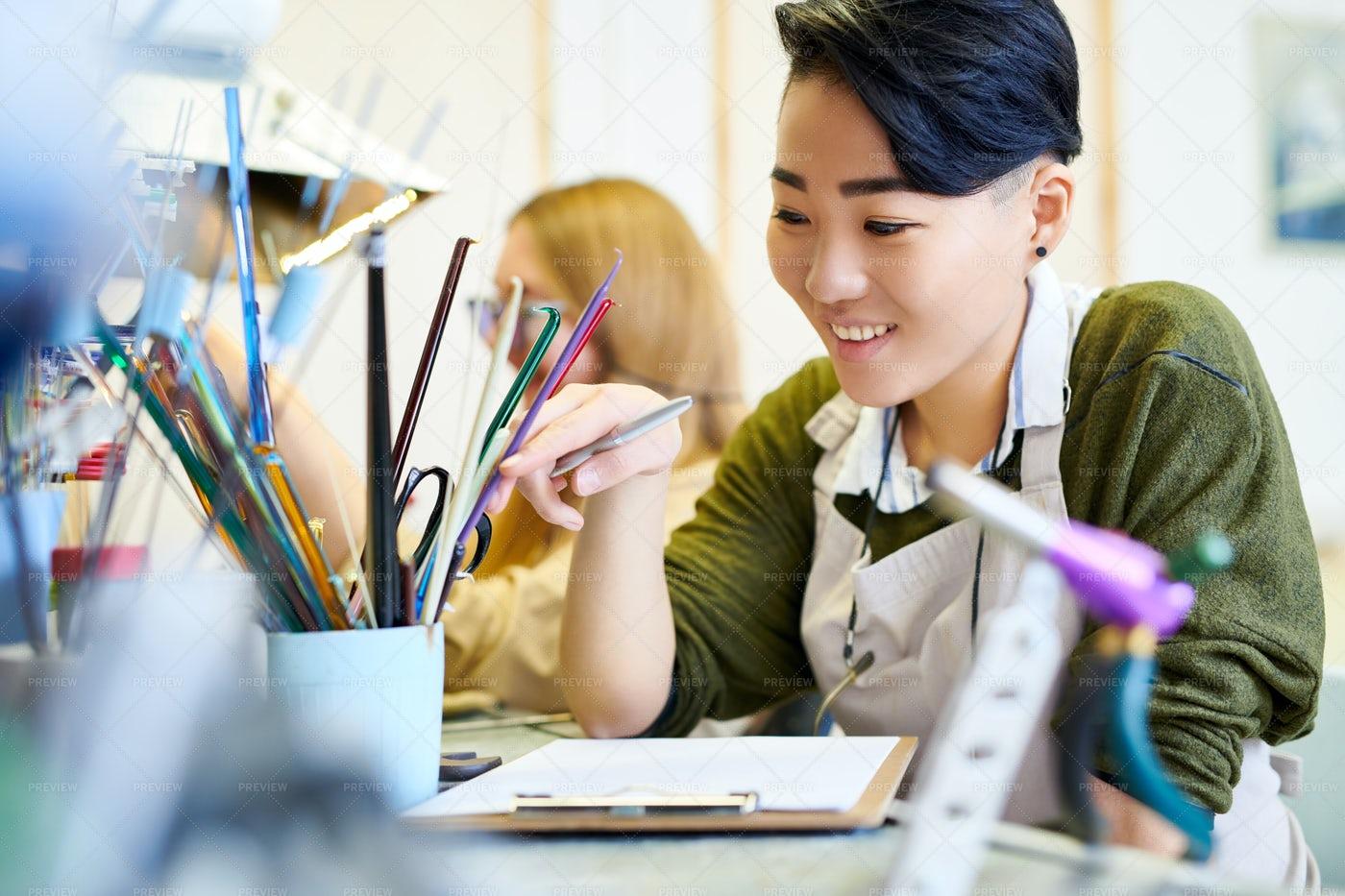 Cheerful Creative Woman In Workshop: Stock Photos