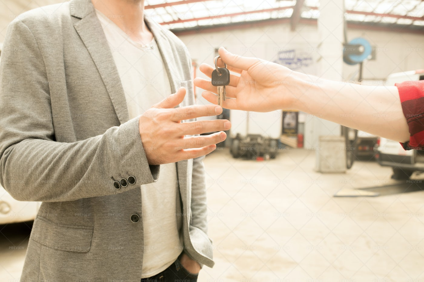 Customer Getting Car Keys After...: Stock Photos