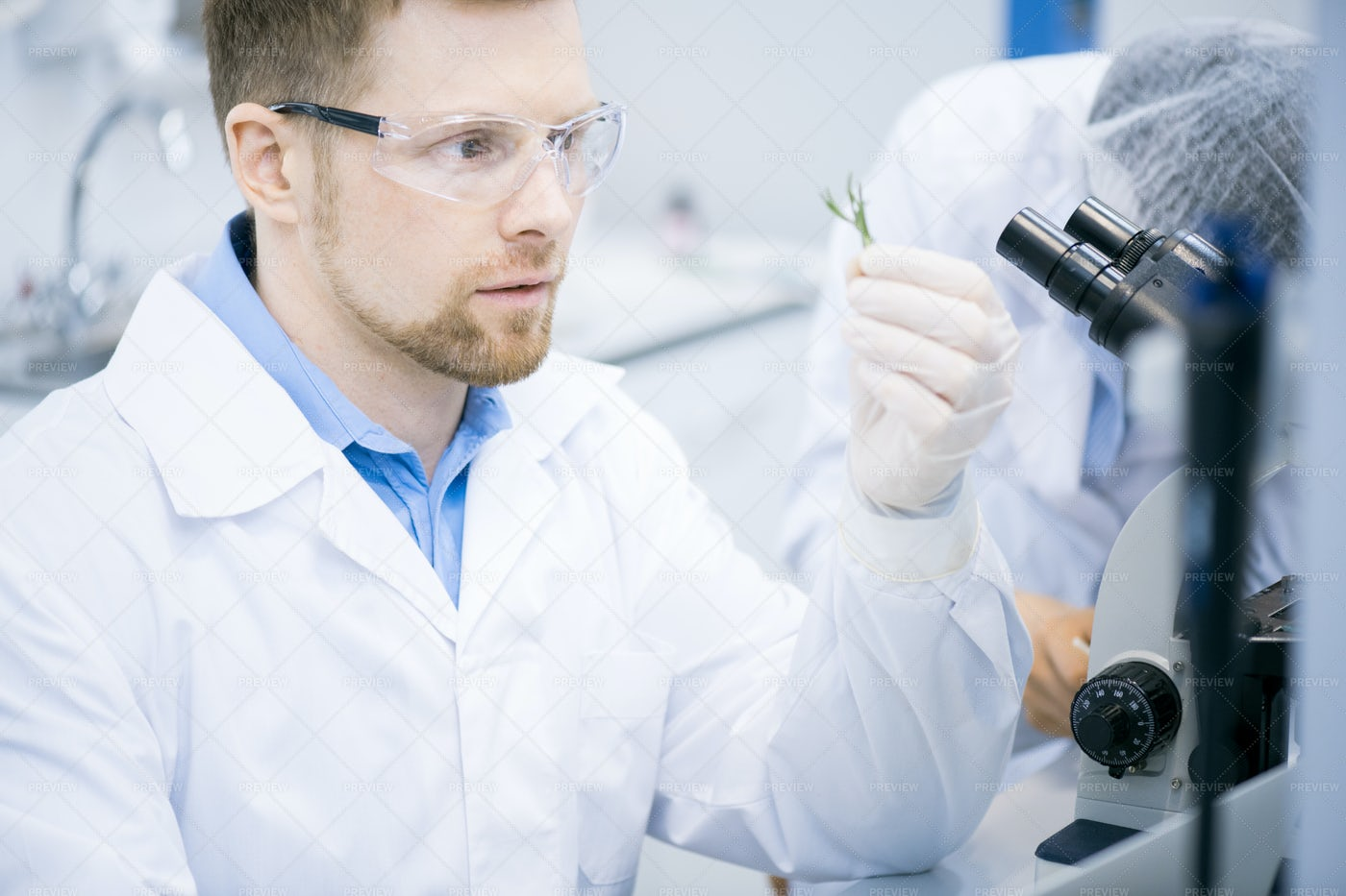Modern Scientist Doing Research In...: Stock Photos