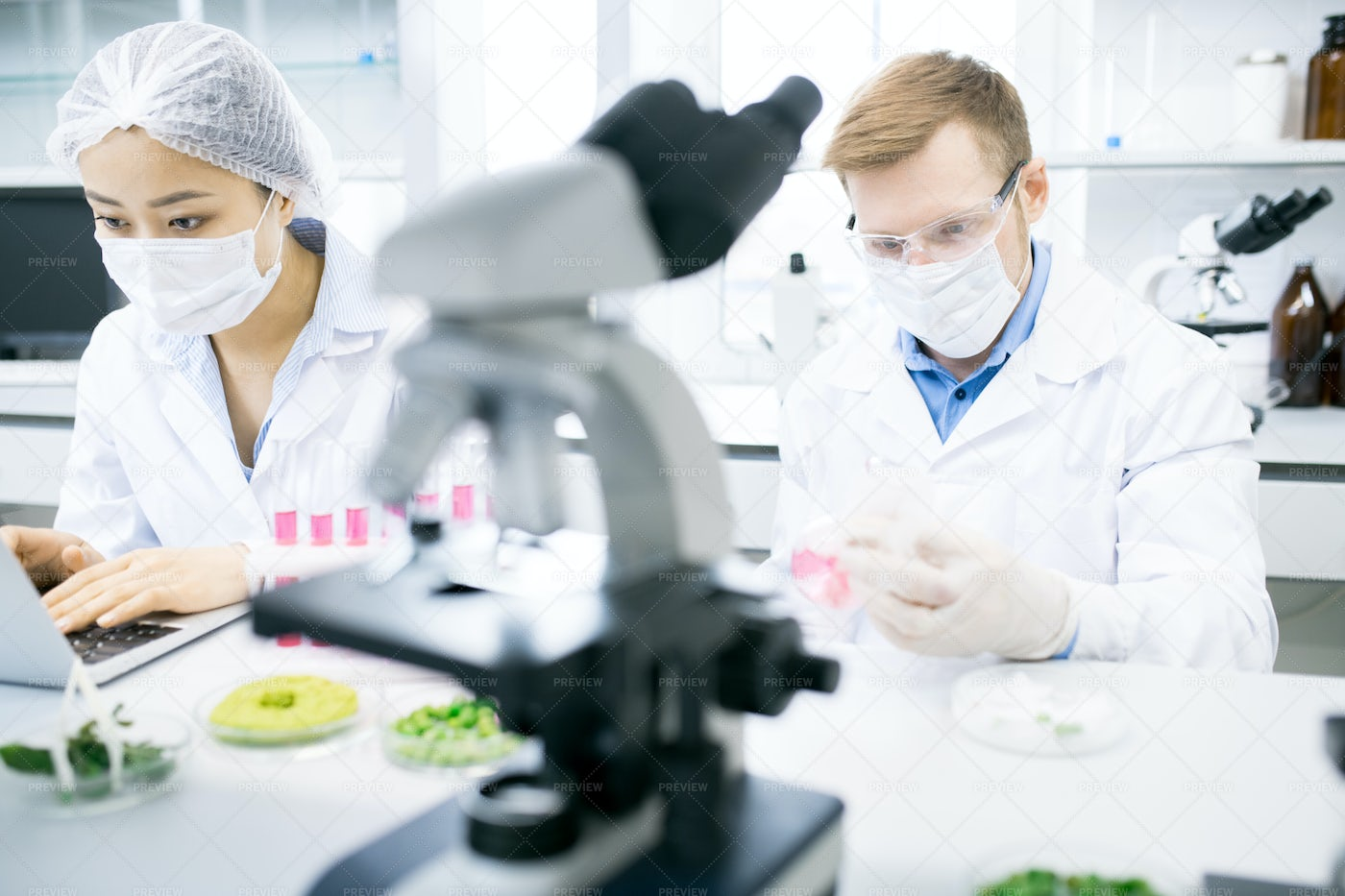 Two Scientists Doing Research In...: Stock Photos