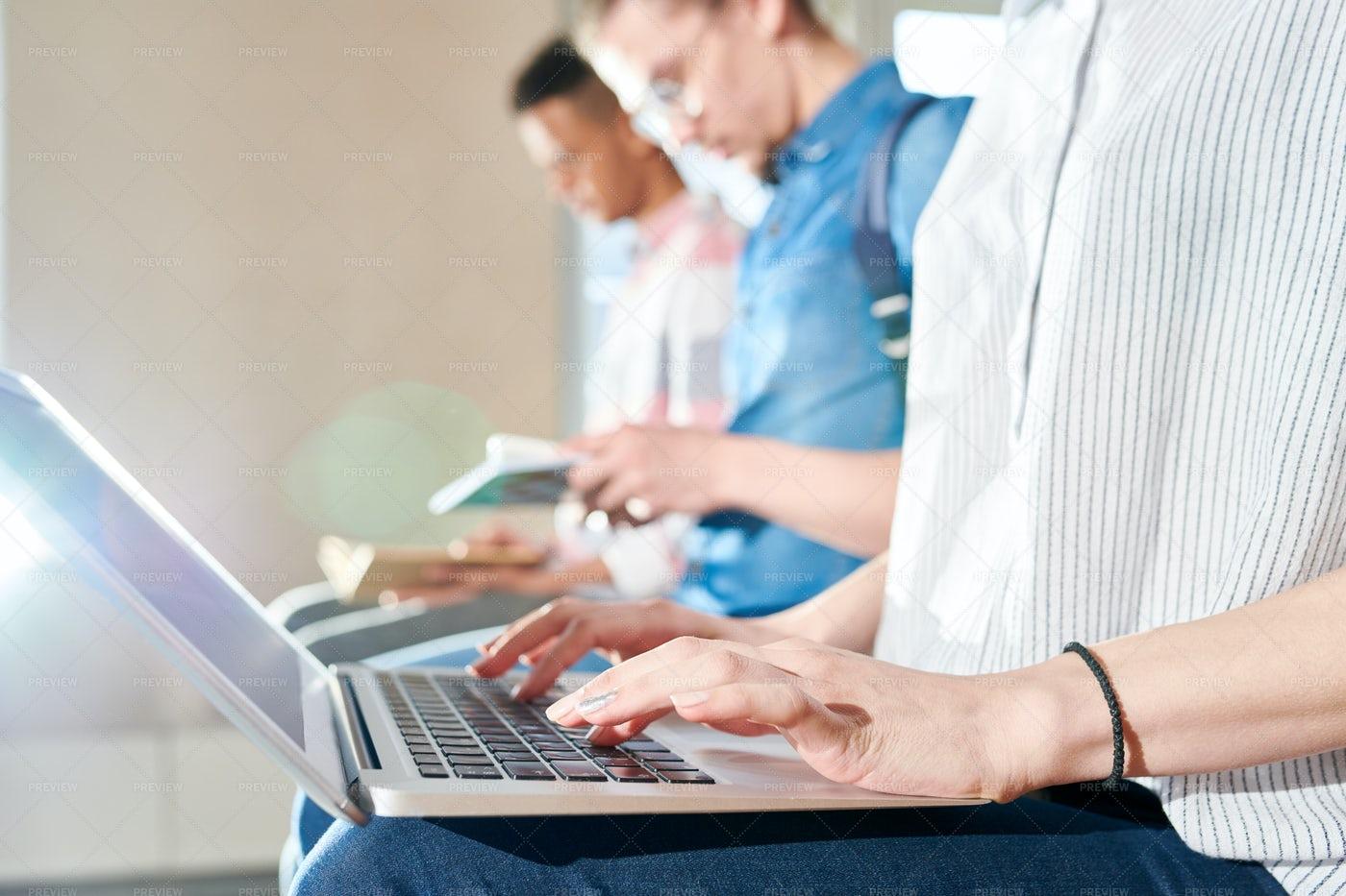 Modern Student Using Laptop: Stock Photos