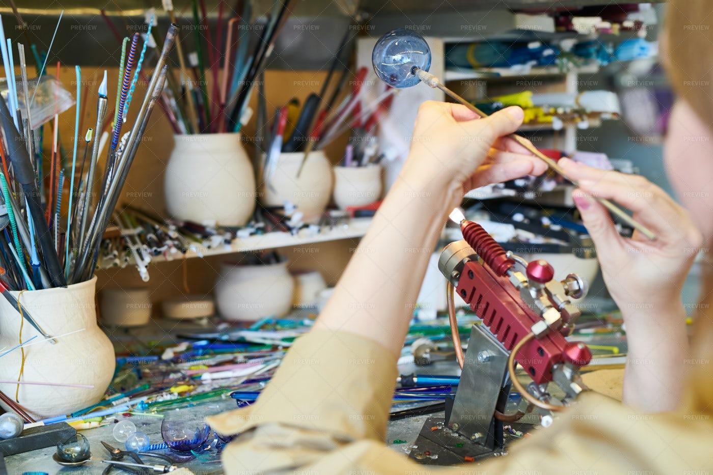 Unrecognizable Female Artist Making...: Stock Photos