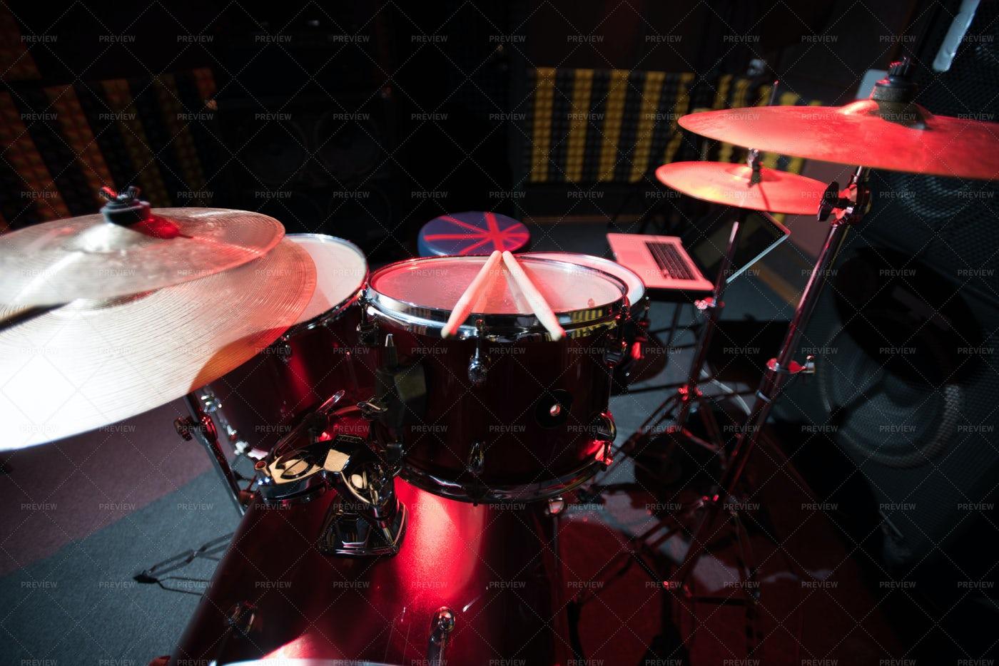 Drum Set On Stage: Stock Photos