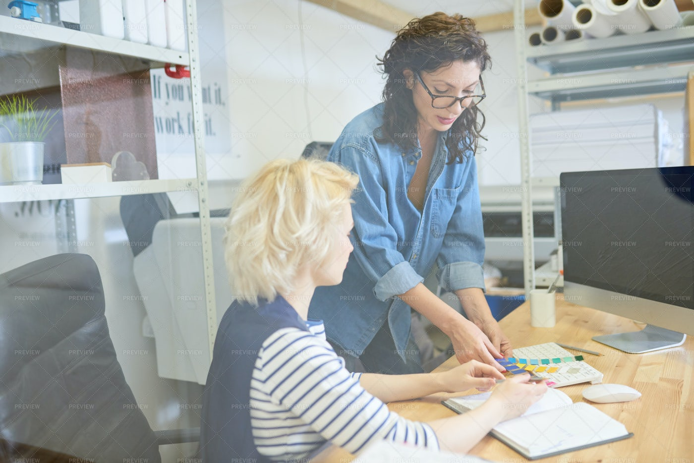 Women Working On Design Project: Stock Photos