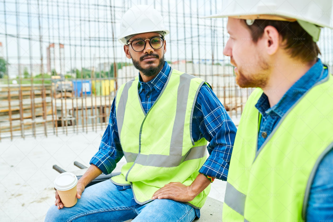 Workers Chatting On Break: Stock Photos