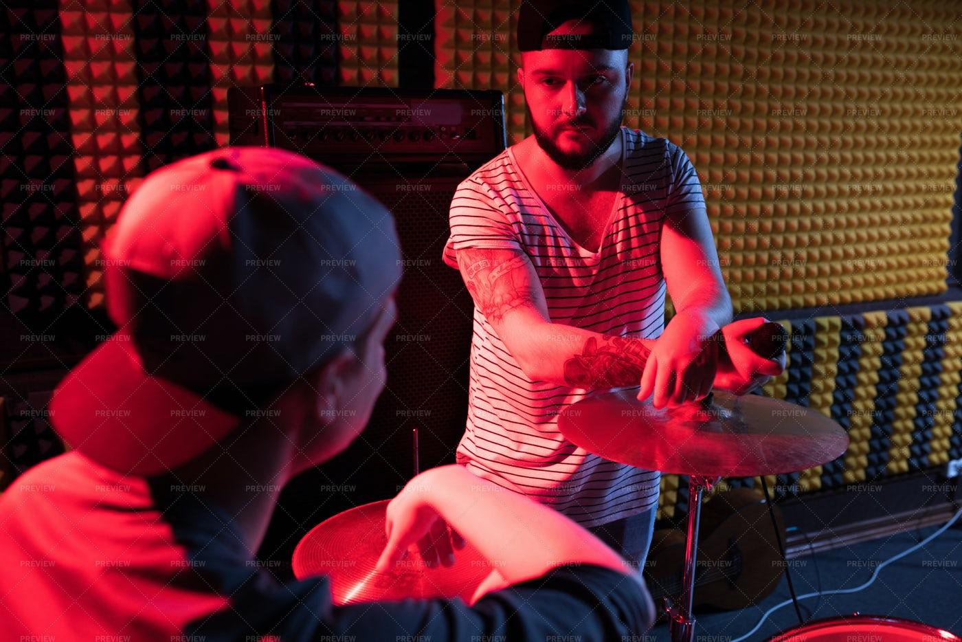 Band In Recording Studio: Stock Photos