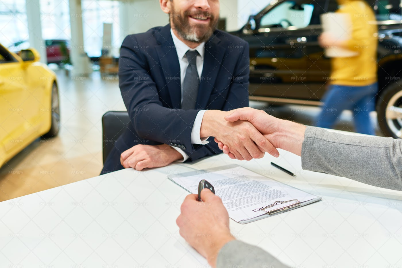 Business Deal In Car Showroom: Stock Photos