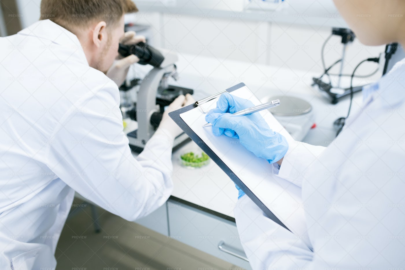 Scientists Writing Results Of...: Stock Photos