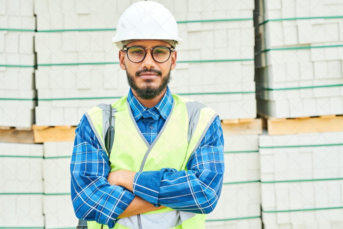Positive Engineer Near Building...: Stock Photos
