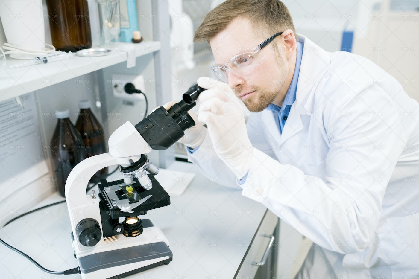 Male Microbiologist Studying Food...: Stock Photos