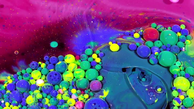 Colorful Ink Spheres On Oil 35: Stock Video