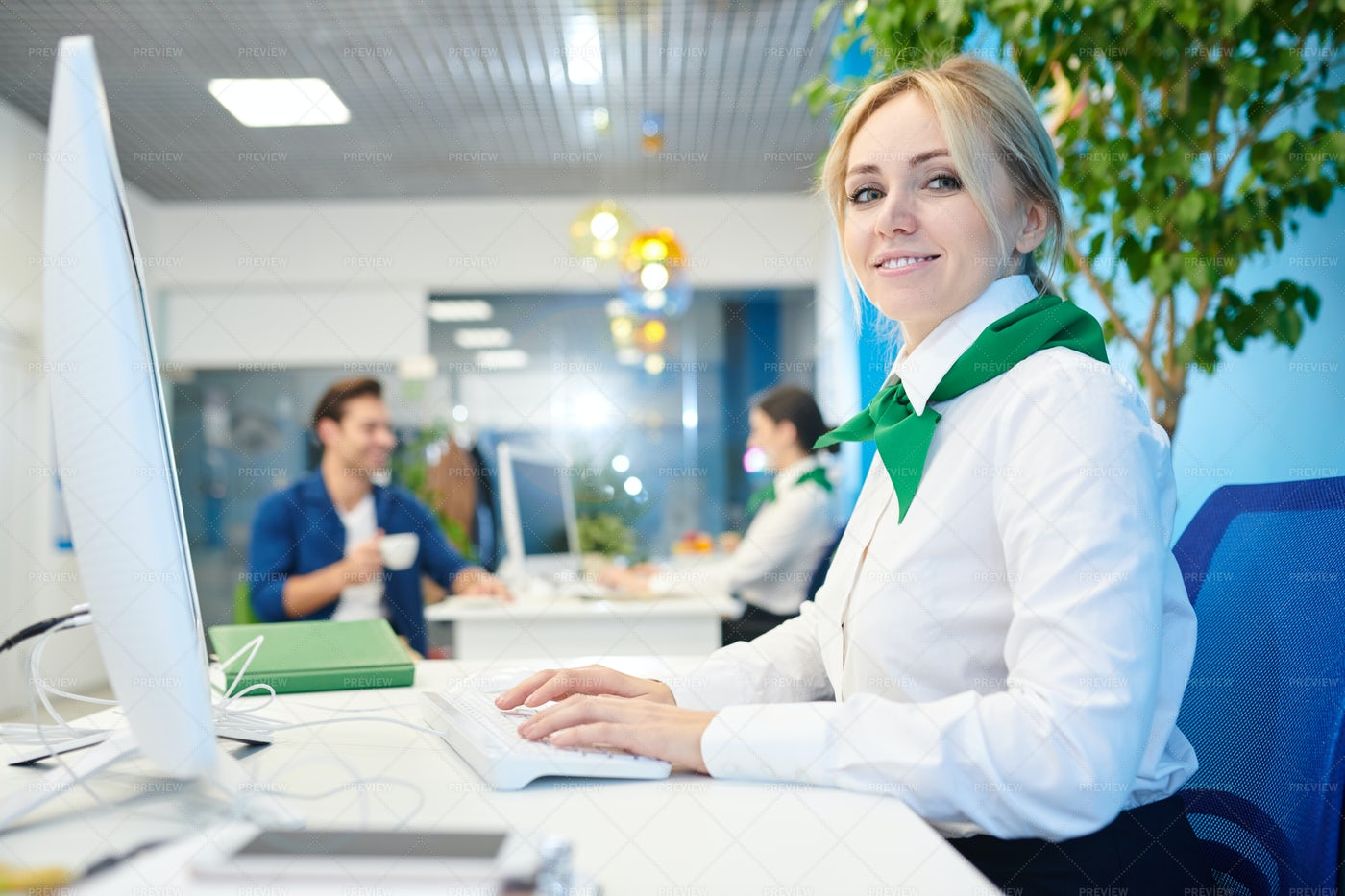 Beautiful Young Lady Working In...: Stock Photos