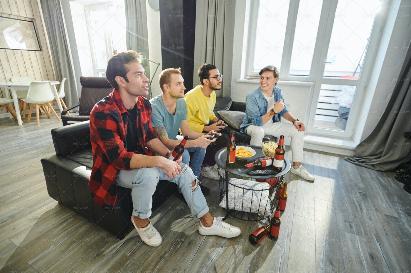 Playing Football On The Console: Stock Photos