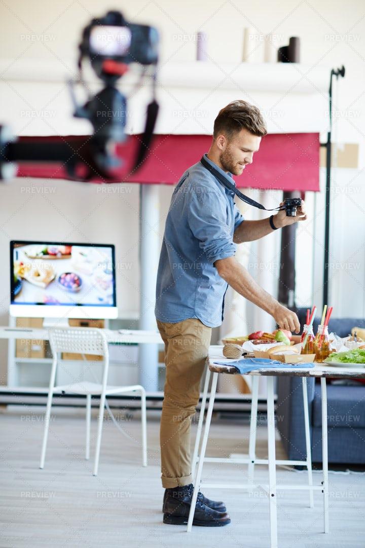 Food Photographer Working: Stock Photos