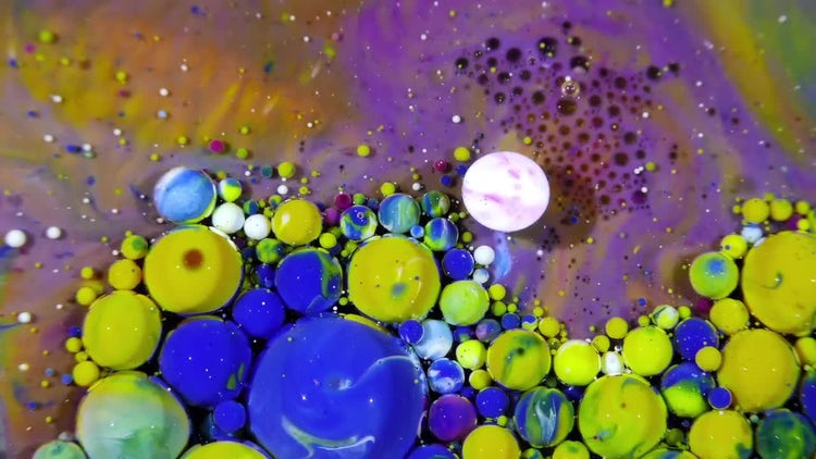 Colorful Ink Spheres On Oil 42: Stock Video