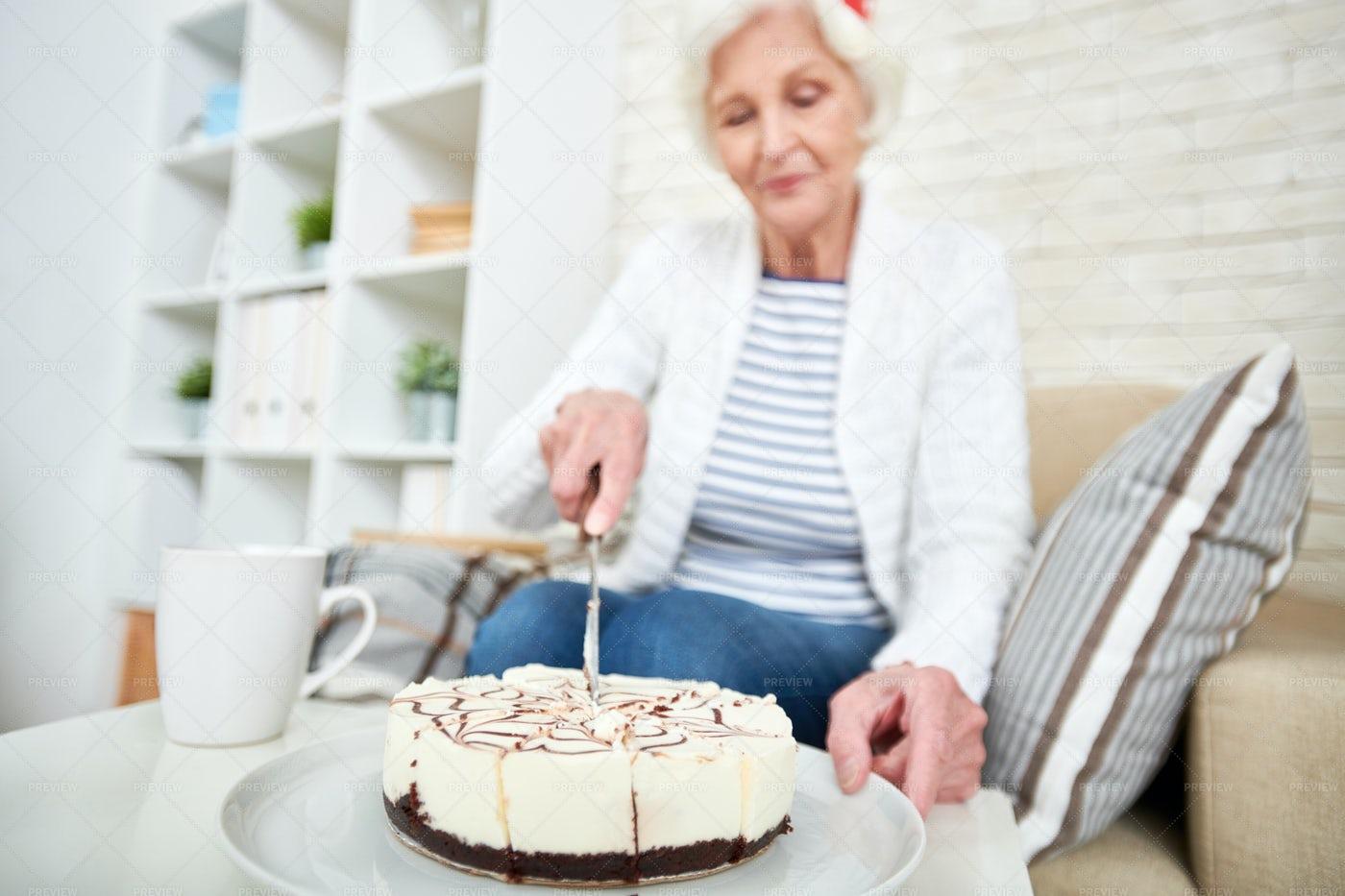 Senior Woman Celebrating Birthday...: Stock Photos