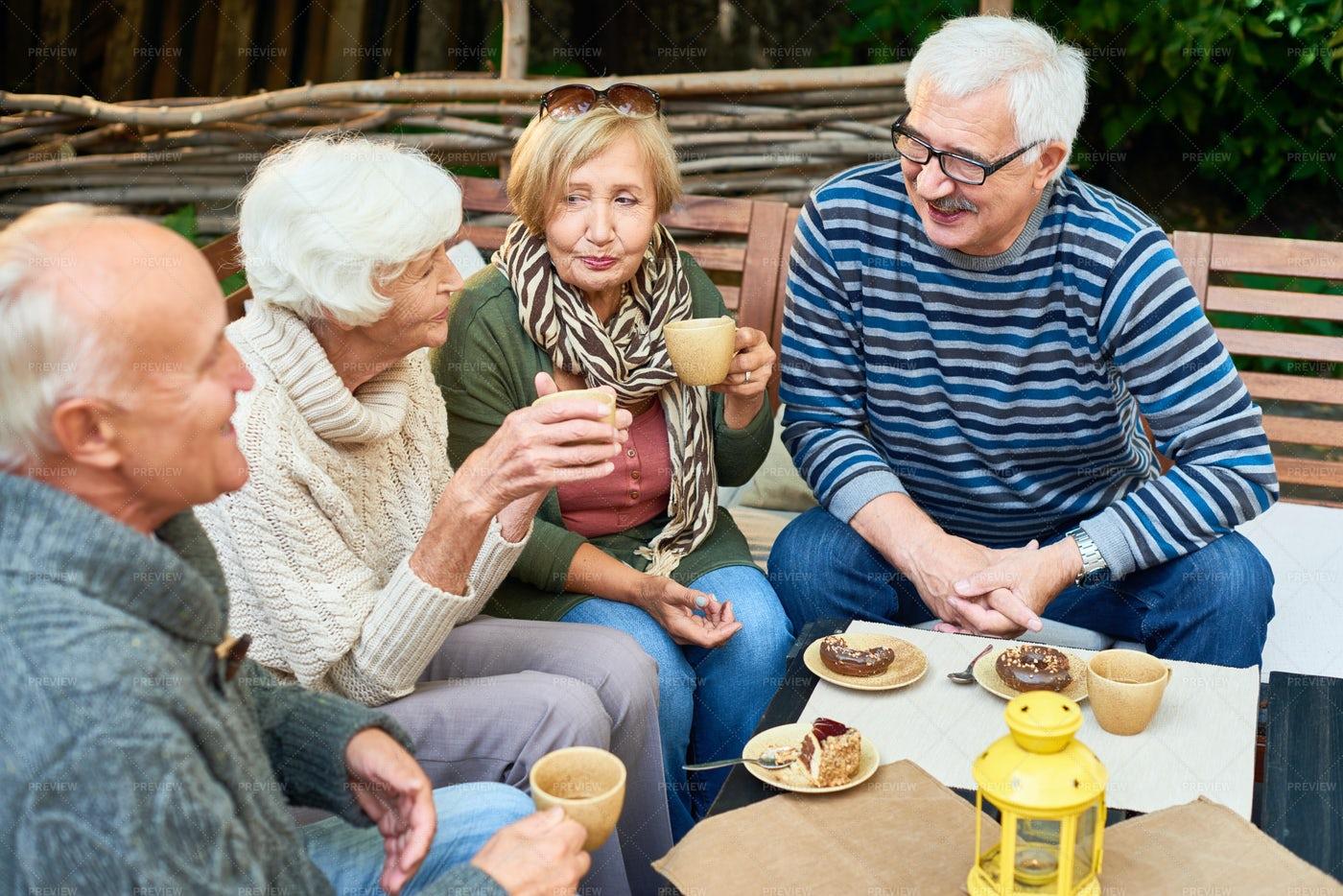 Senior Friends In Cafe: Stock Photos