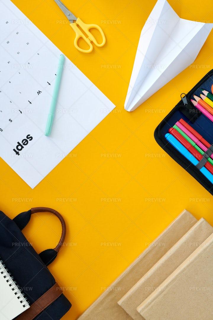 Office Supplies On Yellow...: Stock Photos