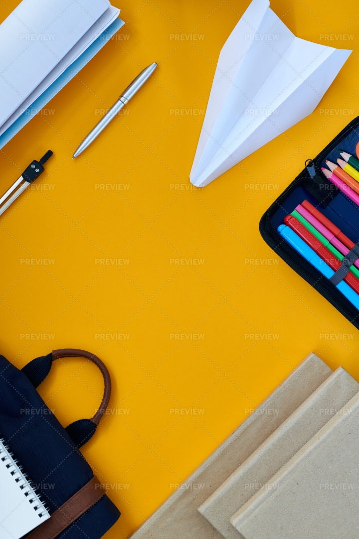Yellow Background With Office...: Stock Photos