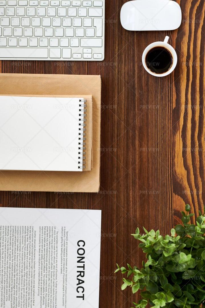 Office Flatlay On Wooden Table: Stock Photos