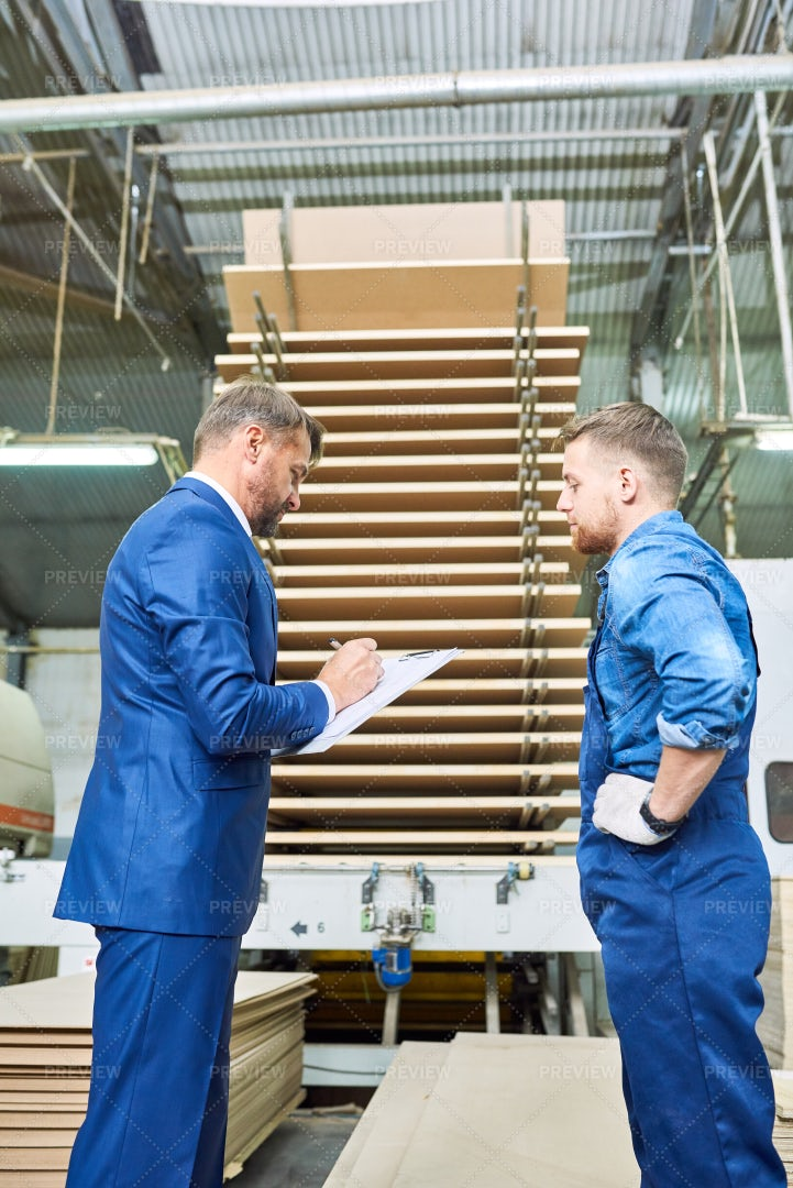 Safety Inspection At Modern Factory: Stock Photos