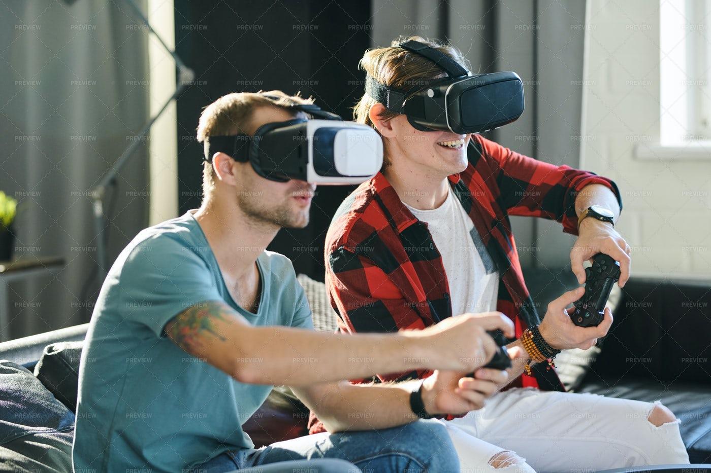 Men Experiencing Virtual Reality: Stock Photos