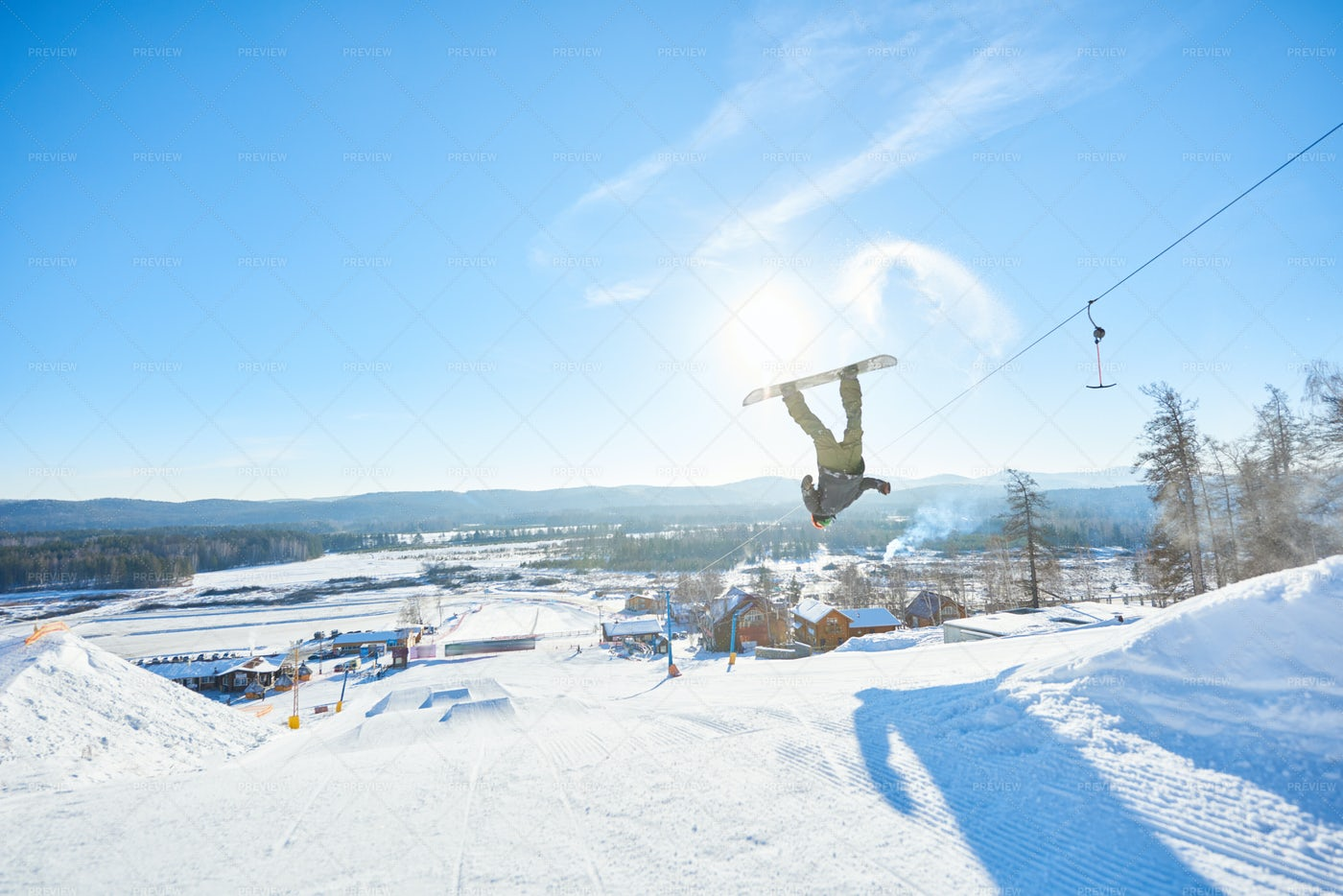 Snowboarder Spinning In Air: Stock Photos