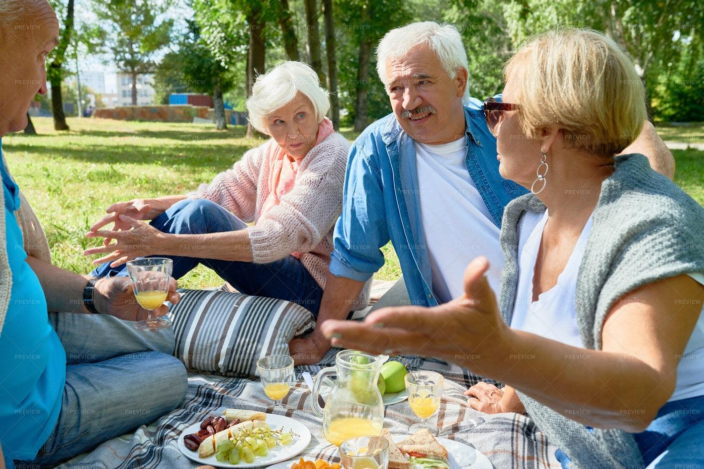 Seniors Enjoying Picnic In Sunny...: Stock Photos