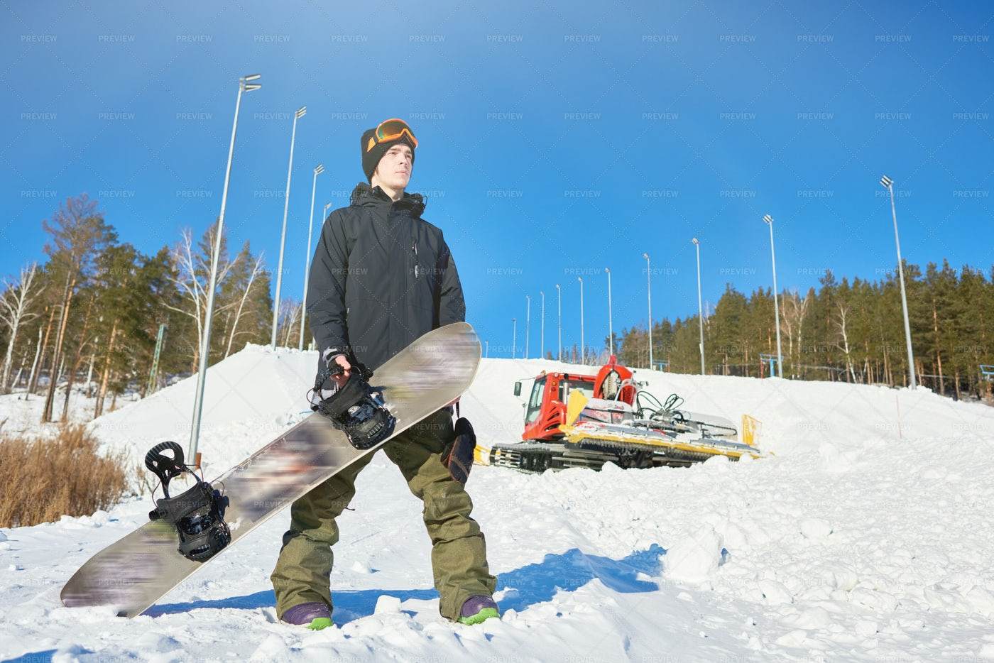Snowboarder Posing On Track: Stock Photos