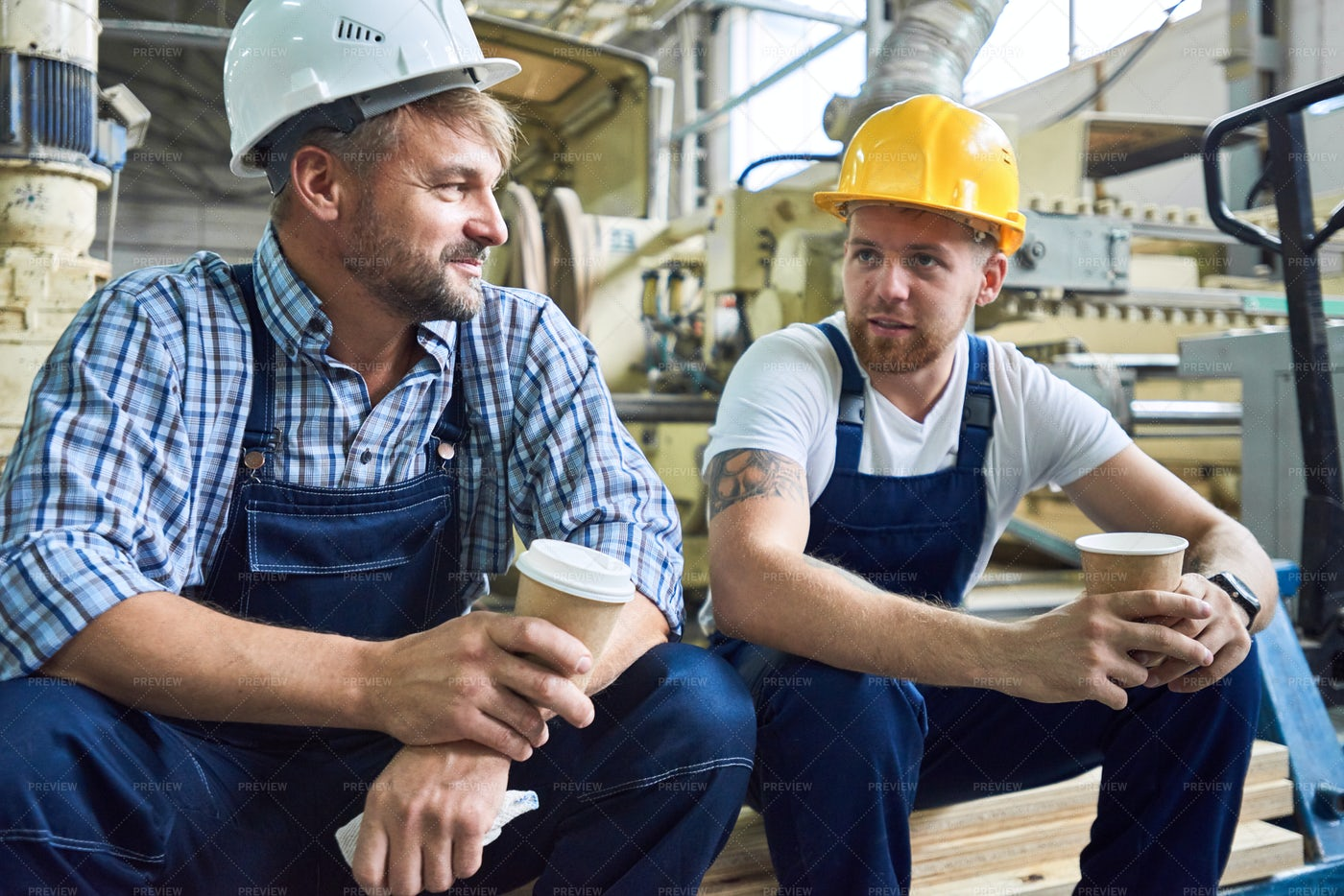 Two Workers On Coffee Break: Stock Photos