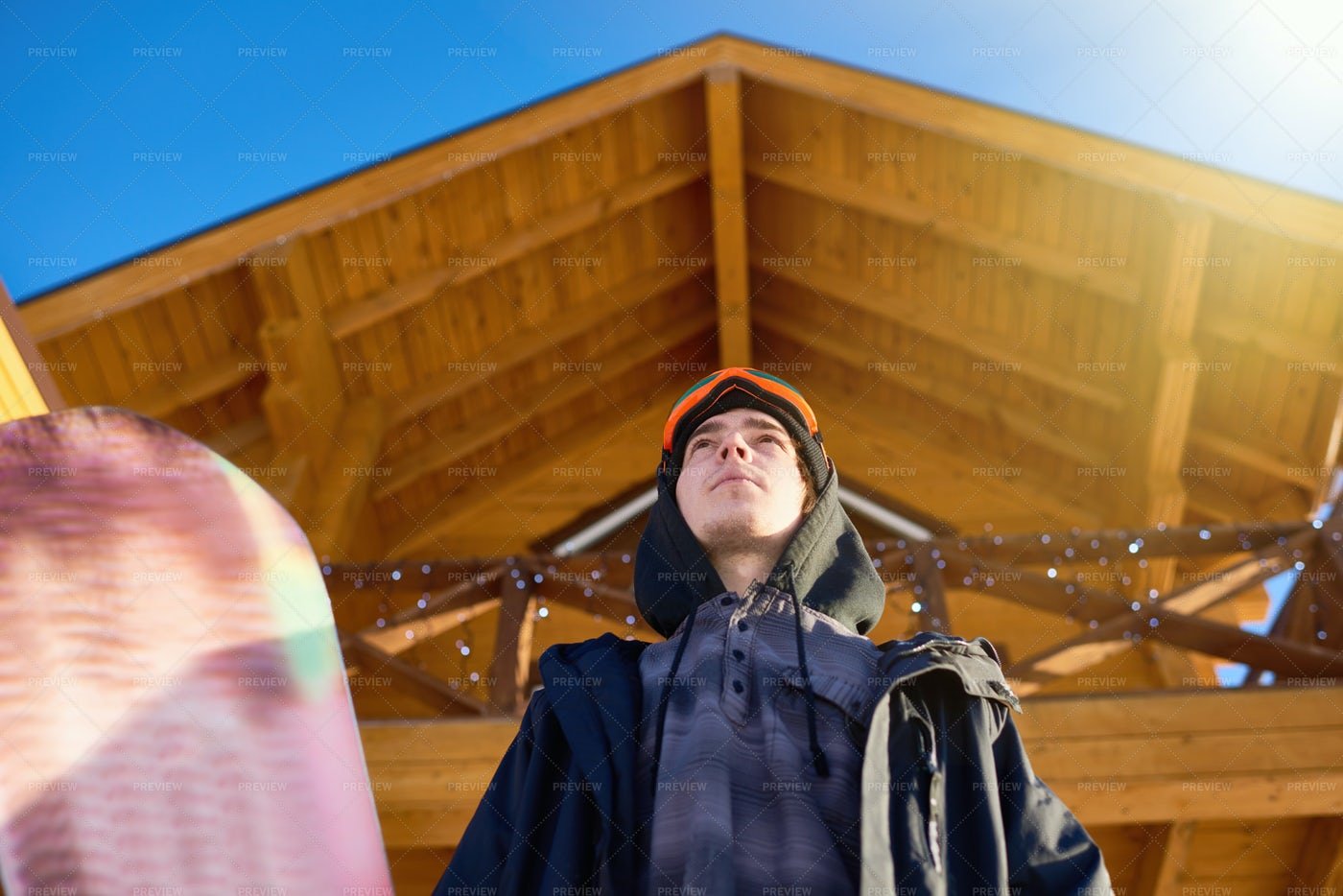 Low Angle View At Snowboarder: Stock Photos