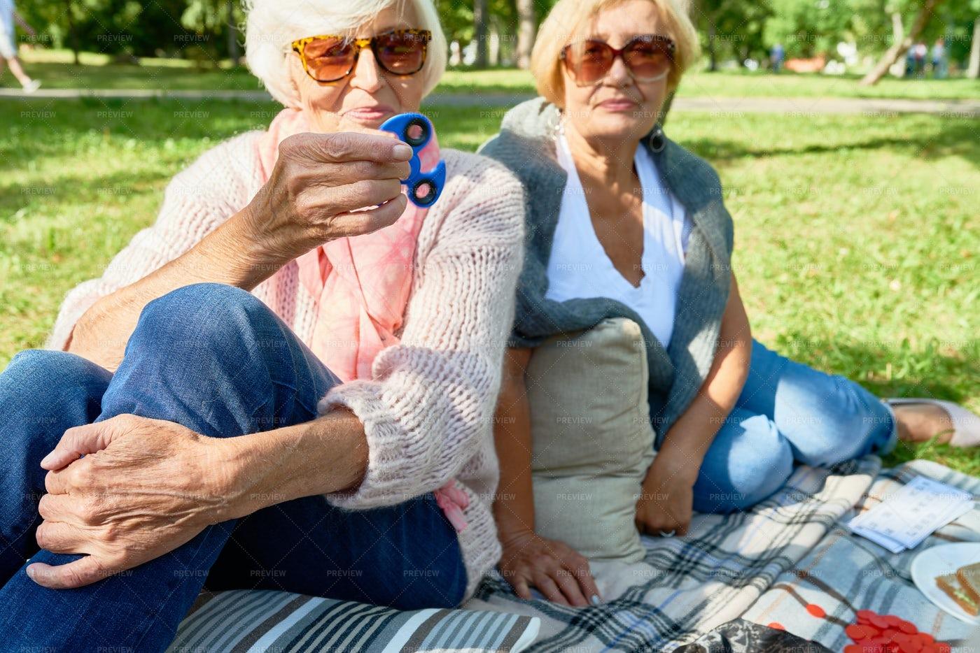 Senior Woman With Spinner: Stock Photos