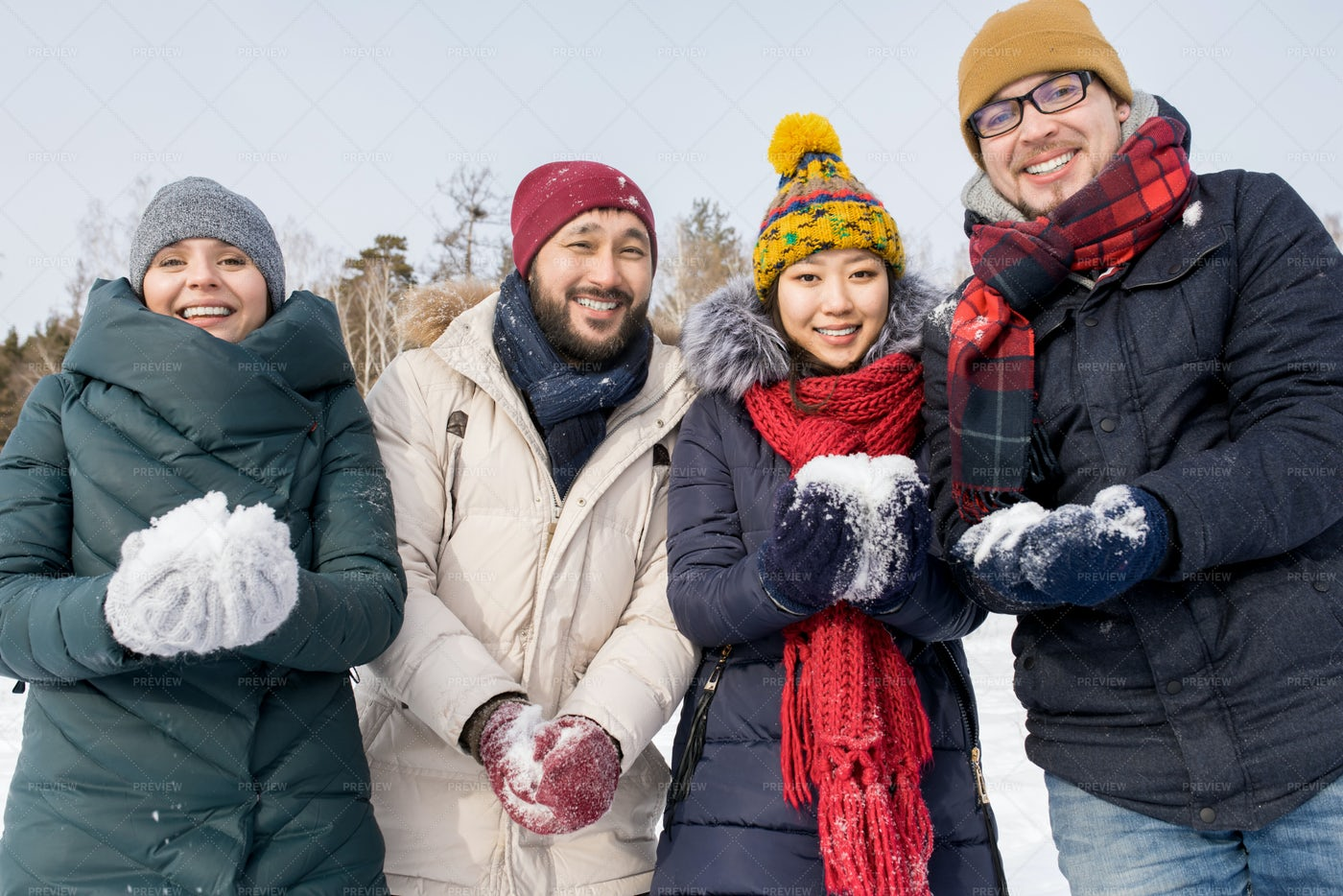 Friends Playing With Snow: Stock Photos