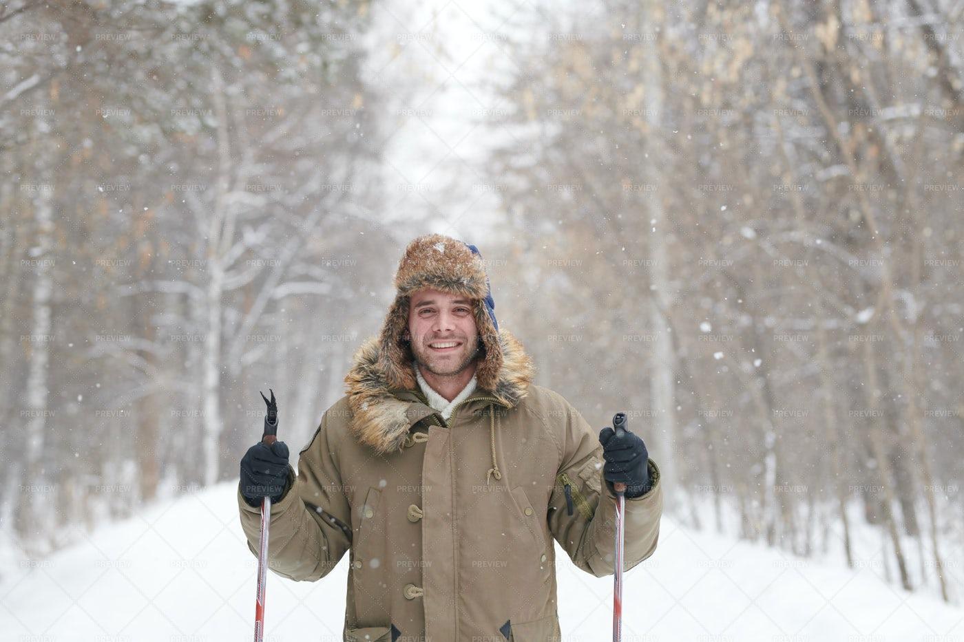 Happy Young Man Skiing: Stock Photos