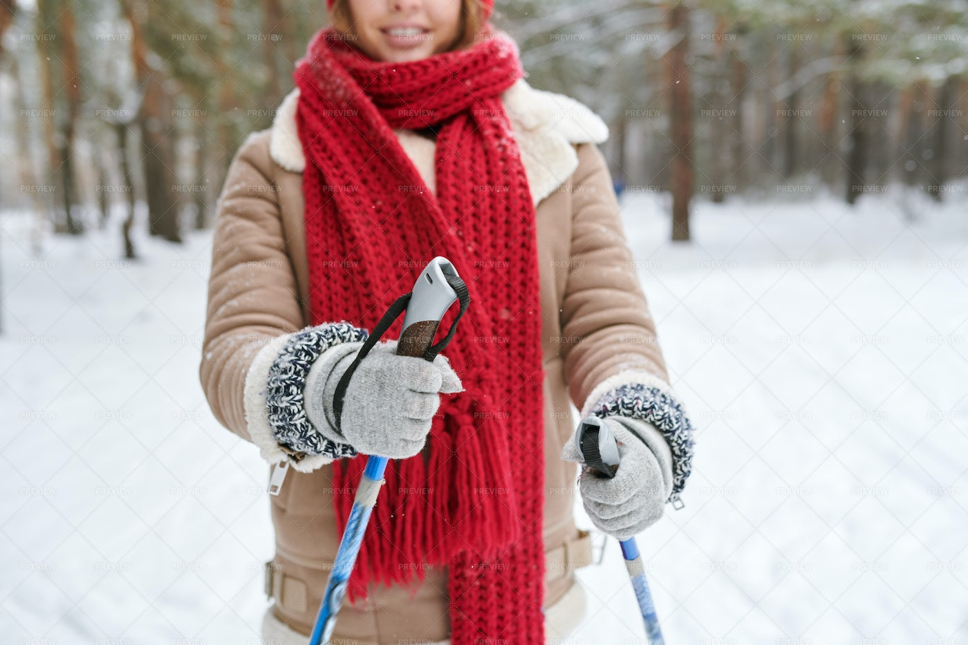 Unrecognizable Woman Skiing In...: Stock Photos